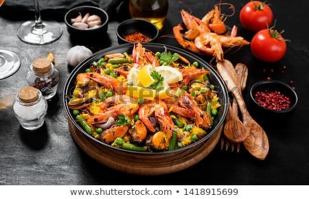 Mar jantar arroz refeição frutos do mar camarão Foto stock © M-studio