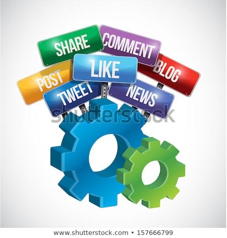Social media borden kleur versnellingen internet tekst Stockfoto © marinini
