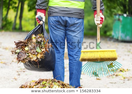 Worker cleans the street from the autumn leaves Stock photo © vavlt
