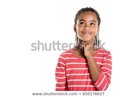 Gondolkodik gyermek kérdőjelek fölött fehér felfelé néz Stock fotó © wavebreak_media