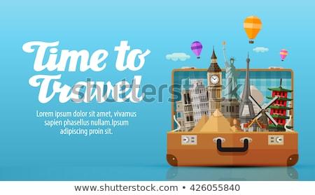 Gebouw reisbureau venster teken wolk palmboom Stockfoto © zzve