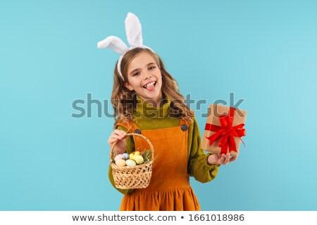 lány · csodaország · fehér · nyúl · portré · mosolyog - stock fotó © pzaxe