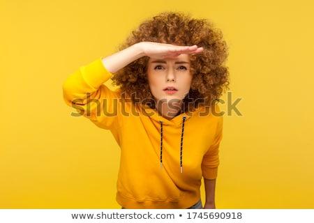Meisje afstand mooie triest stad muur Stockfoto © ssuaphoto