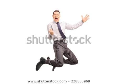 Сток-фото: �изнесмен, · прыгающий · в · студии, · полный · на · белом