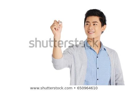 Férfi ír valami levegő közelkép kéz Stock fotó © dolgachov