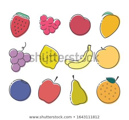 Stock photo: Fresh Organic Peaches, Grapes And Bananas