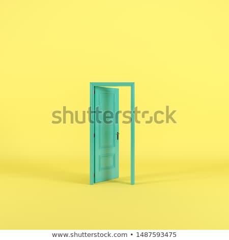Açmak yeşil kapı beyaz yansıma 3d render Stok fotoğraf © ajn