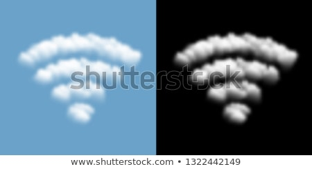 Wifi nuages forme signe ciel bleu ciel Photo stock © badmanproduction