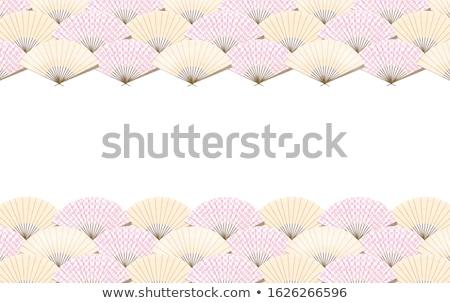 seamless japanese folding fan floral fabric background stock photo © creative_stock