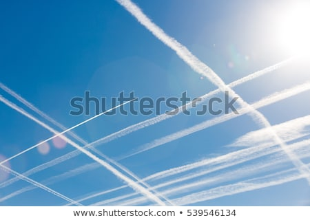 blue · sky · condensação · trilha · aeronave · luz · mundo - foto stock © meinzahn