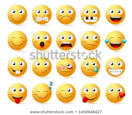Emotikon félő arc érzelem ikon rázkódás Stock fotó © carbouval