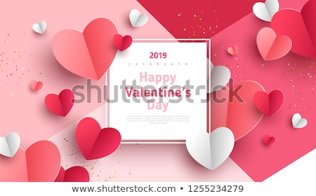 frame of pink hearts on a white background for a valentines day stock photo © impresja26