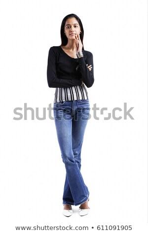 portre · genç · kadın · el · çene · bakıyor · kamera - stok fotoğraf © bmonteny