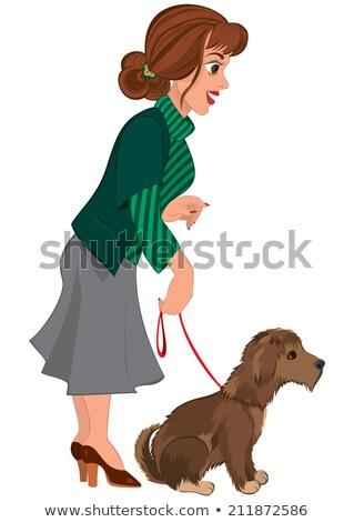 Cartoon женщину зеленый полосатый свитер собака Сток-фото © Zebra-Finch