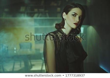 красивой брюнетка женщину черный прозрачный блузка Сток-фото © bartekwardziak