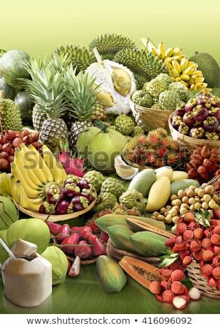 Gyümölcs mix kosár keverék őslakos egzotikus gyümölcsök Stock fotó © joker