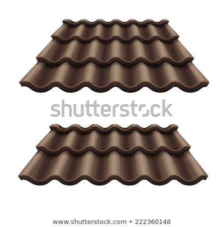 Dark chocolate corrugated tile element of roof Stock photo © LoopAll