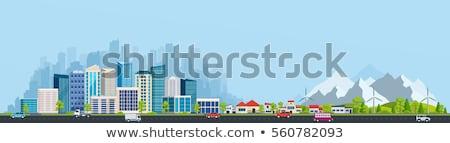 Rojo edificio de oficinas fachada oficina verde Foto stock © elxeneize
