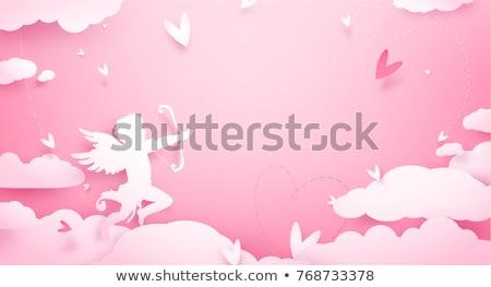 Dzień miłości serca anioł latać karty Zdjęcia stock © Dazdraperma
