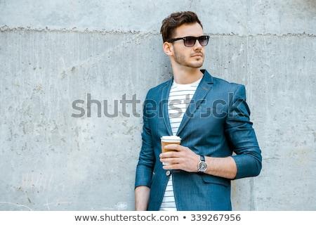 elegante · moço · óculos · retrato · cinza - foto stock © feedough