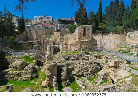 Stockfoto: Oude · zwembad · ruines · oude · stad · Jeruzalem