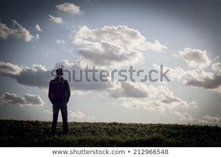 Stock fotó: Tizenéves · fiú · üres · felhő · fiatal · pózol · stúdió