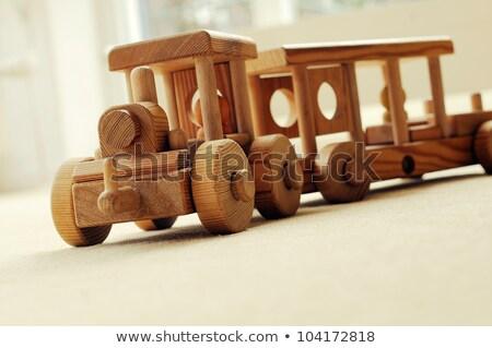 Brinquedo de madeira ferrovia vermelho rodas isolado branco Foto stock © vtls