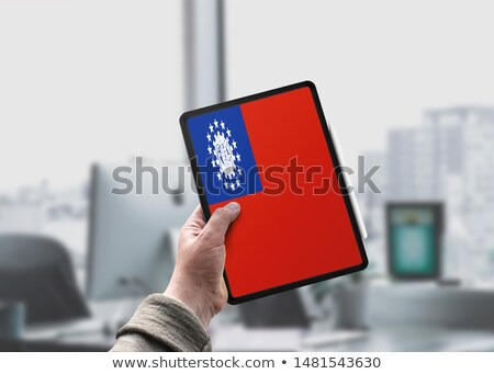 Tablet with Myanmar flag Stock photo © tang90246