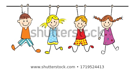 Cute little school girl and boy friends, vector illustration Stock photo © carodi