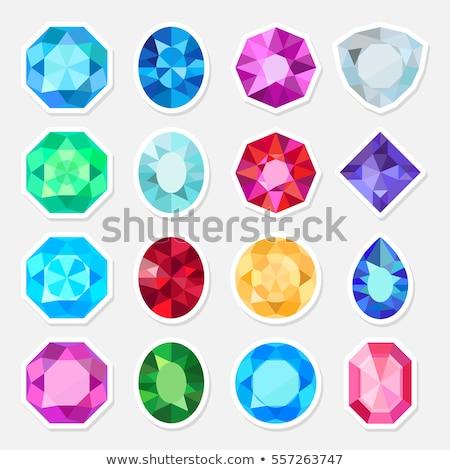 Piros gyémánt drágakő vektor ikon ékszer Stock fotó © blaskorizov