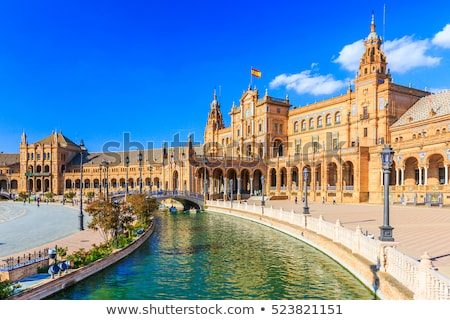 Tower at Spain square in Seville Stock photo © rmbarricarte
