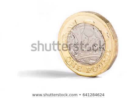 Foto stock: Um · libra · moeda · moedas · branco