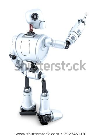 робота указывая невидимый объект вид сбоку изолированный Сток-фото © Kirill_M