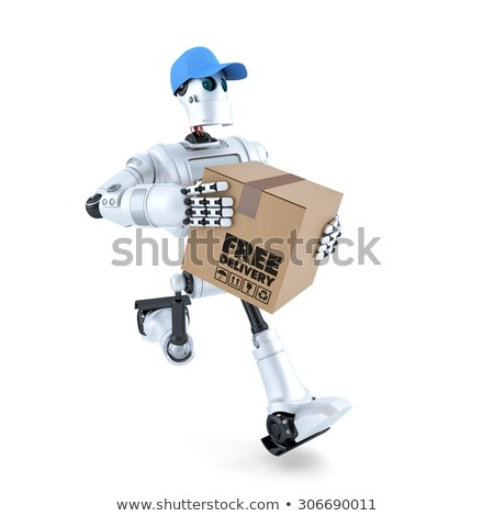 3D Courier Robot with package. Free delivery concept. Isolated. Contains clipping path Stock photo © Kirill_M