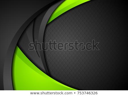 Foto stock: Verde · preto · contraste · ondulado · vetor · projeto
