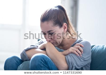 女性 落ち込んで 肖像 若い女性 立って 孤立した ストックフォト © deandrobot