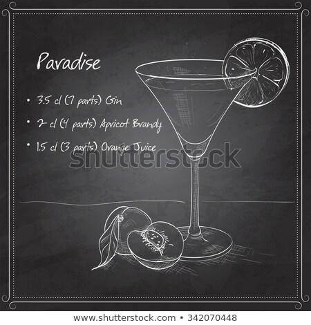 Paradise alcoholic cocktail on black board Stock photo © netkov1