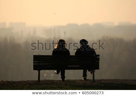 szerelmespár · pad · nő · szeretet · hát · fej - stock fotó © adrenalina