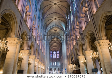 Interior Arches Stained Glass Notre Dame Cathedral Paris France stock photo © billperry