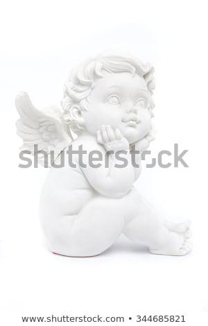 szobor · kicsi · angyal · fehér · gyermek · temető - stock fotó © julietphotography