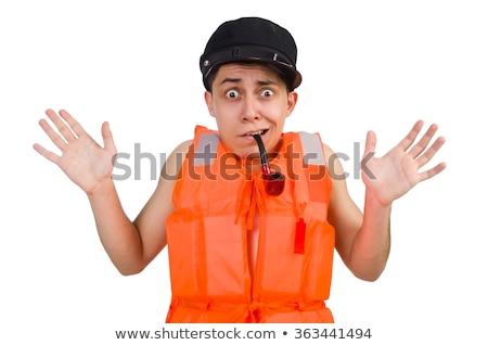 funny man wearing orange safety vest stock photo © elnur