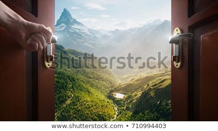 ドア · 緑の草 · 青空 · 草 · 風景 - ストックフォト © dmitroza