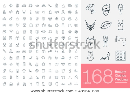 Men fashion clothes and accessories flat line vector icons  Stock photo © vectorikart
