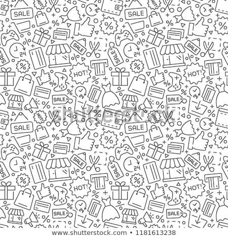 Doodle shopping icona ragazza ragazzo pensare Foto d'archivio © pakete