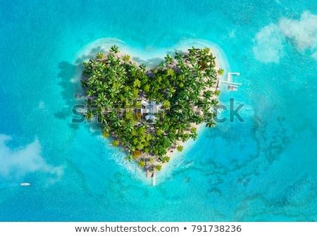 szív · alakú · sziget · légifelvétel · jacht · romantikus - stock fotó © maxmitzu