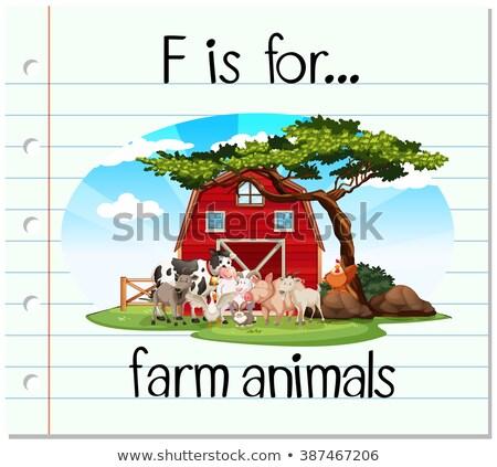 Boerderijdieren illustratie achtergrond kunst koe Stockfoto © bluering