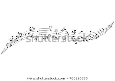 Müzik notaları uçmak dışarı örnek alt ekran Stok fotoğraf © klss