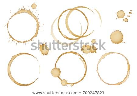 xícara · de · café · anéis · isolado · branco · papel · café - foto stock © bdspn