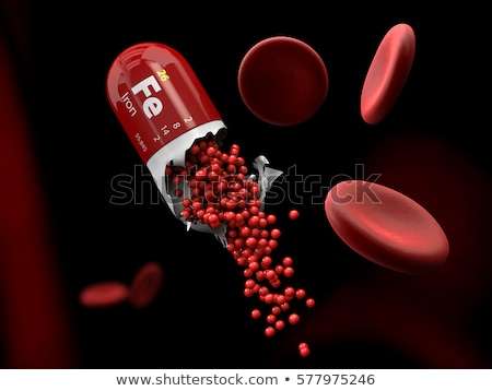 illustration of iron mineral capsule dissolves in the stomach stock photo © tussik