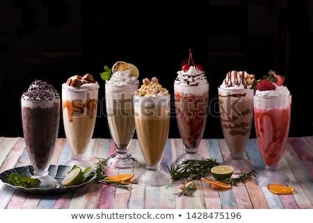 Drinken glas achtergrond tabel cafe snoep Stockfoto © racoolstudio